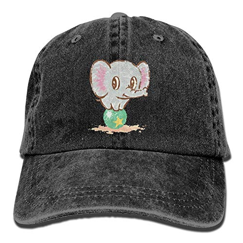 Hoswee Unisex Kappe/Baseballkappe, Baby Elephant Play Ball Washed Cotton Denim Classic Baseball Cap Adjustable