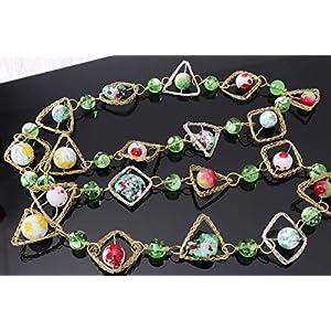 Ausgefallene Glasperlenkette Bunt Lang aus Böhmischen Perlen verstellbar Elegant Handgefertigter Schmuck Weihnachten…