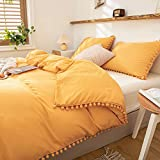 2 Pieces Yellow Bedding Luxury Yellow Duvet Cover Set Ball Fringe Pattern Design Soft Ginger Yellow Boys Girls Bedding Set Twin 1 Pom Lace Duvet Cover 1 Pillowcase (Twin, Yellow)