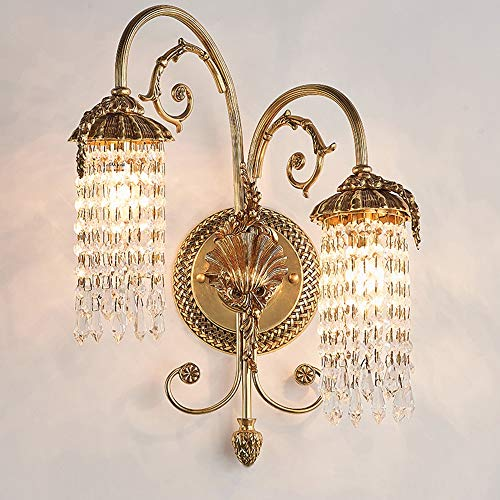 MGWA Luces de Pared 34 * 48cm Lámpara De Pared De Cristal De Cobre De Oro Cálido De Lujo Europeo Villa Hotel Sala De Estar Dormitorio Cama