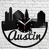 Austin Reloj de Pared de Vinilo LP Record Decoración para el hogar Arte Hecho a Mano Personalidad Gift1 (Tamaño: 12 Pulgadas, Color: Negro) Reloj de Pared de Vinilo para Hombre de peluquería -