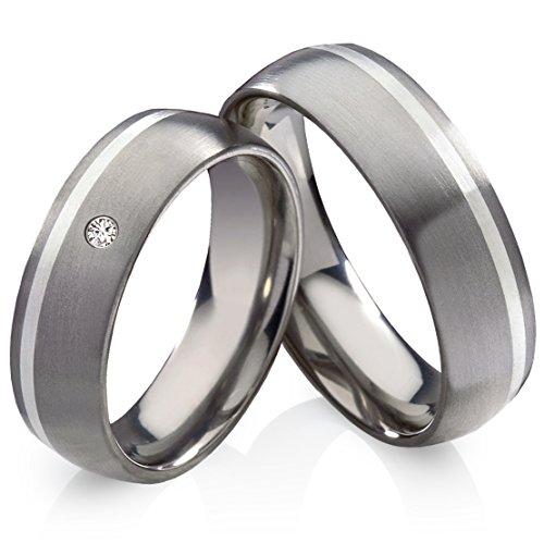 frencheis Titanringe Verlobungsringe Eheringe Trauringe Hochzeitsringe aus Titan mit 925 Silber und Diamant Gravur TSB013