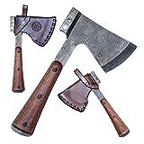 Madhammers - Hacha de acampada hecha a mano de acero inoxidable, funda de piel auténtica cosida a mano, color marrón Para los amantes de la naturaleza, ofrecemos una hacha original