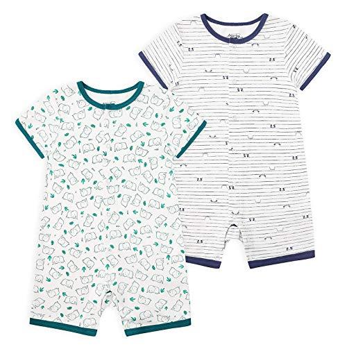 Froerley Pelele Bebé Niño Verano, Bodies Bebe Manga Corta, Ropa Bebe Niño 6-9 Meses, Mono Bebe Pijama Niños (2 pcs)