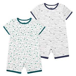Froerley Pelele Bebé Niño Verano, Bodies Bebe Manga Corta, Ropa Bebe Niño 24 Meses, Mono Bebe Pijama Niños (2 pcs)