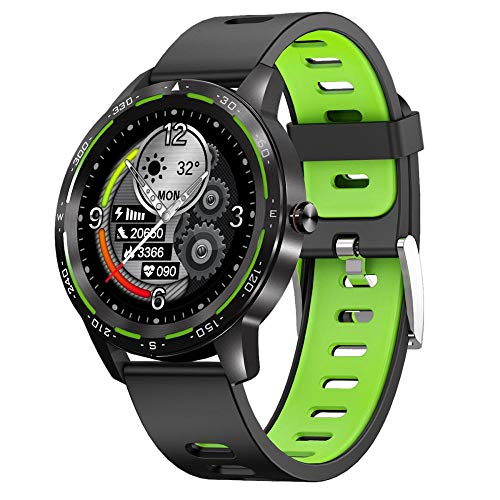 Full Round Full-Touch Blue Tooth Notification Watch 1.28 Inch IP68 Heart Rate Multi-Sports Mode Smart Watch-Dark Green