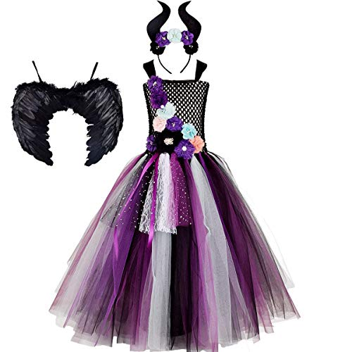 OBEEII Disfraz de Ecuernos Malefica Niñas Deluxe Maleficent Christening Gown Fancy Dress Costume para Halloween Cosplay Carnaval Disfraces 1-2 Años