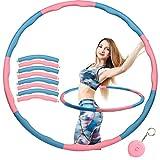 Herefun 6-8 Secciones Hula Hoop Desmontable, Hula Hoop Espuma, Hula Hoop Plegable, Hula Hoop para Perder Peso Fitness, Hula Hoop para Niños con Adulto (+Mini Cinta Métrica) (Rosado & Azul-B)
