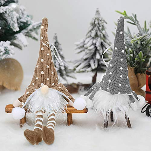 Christmas Gnome Decorations LED Plush Doll Elf Dwarfs, Handmade Gnome with LED Light 2 Pack Scandinavian Santa Elf Plush Ornaments Nordic Xmas Gift Holiday Party HomeTable Decorations(Gray&brown)