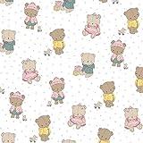 Hans-Textil-Shop Stoff Meterware Baby Bären Punkte - Für