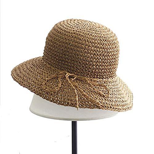 Ogquaton sombrero de paja para mujer de verano, sombrero de sol de ala ancha, gorra de playa para niños, actividades al aire libre, uso 1 unidad, color caqui, práctico y popular