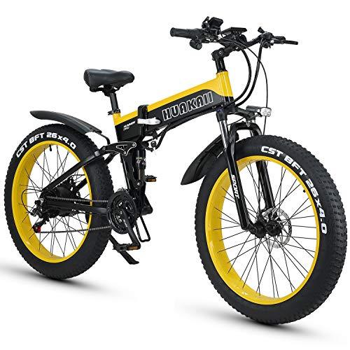 HUAKAI Bici Elettrica Pieghevole da 26',Mountain Bike Elettrico Fat Bike Ebike 1000w 48v 13ah (Giallo)