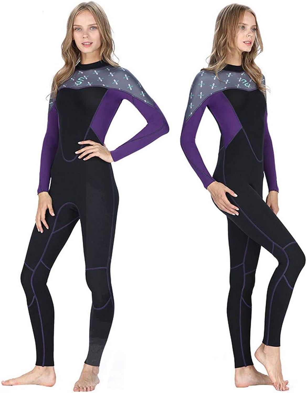 JASQSY Women Wetsuit 2mm Neoprene Long-sleeve Female Full Body Scuba Surfing Wetsuit Patchwork Diving Suit Swimsuit Keep Warm,S