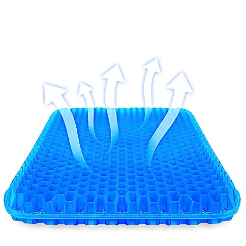 SUPTEMPO Gel Seat Cushion, Thick Big Gel Seat Cushion,Newest Modified Double Gel Seat Cushion, for Pressure Relief Back Tailbone Pain - Home Office Chair Cars Wheelchair(with Mesh Seat Cover)
