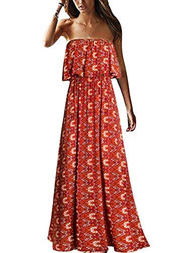 Yidarton Women Summer Blue and White Porcelain Strapless Boho Maxi Long Dress (Medium, A-red)
