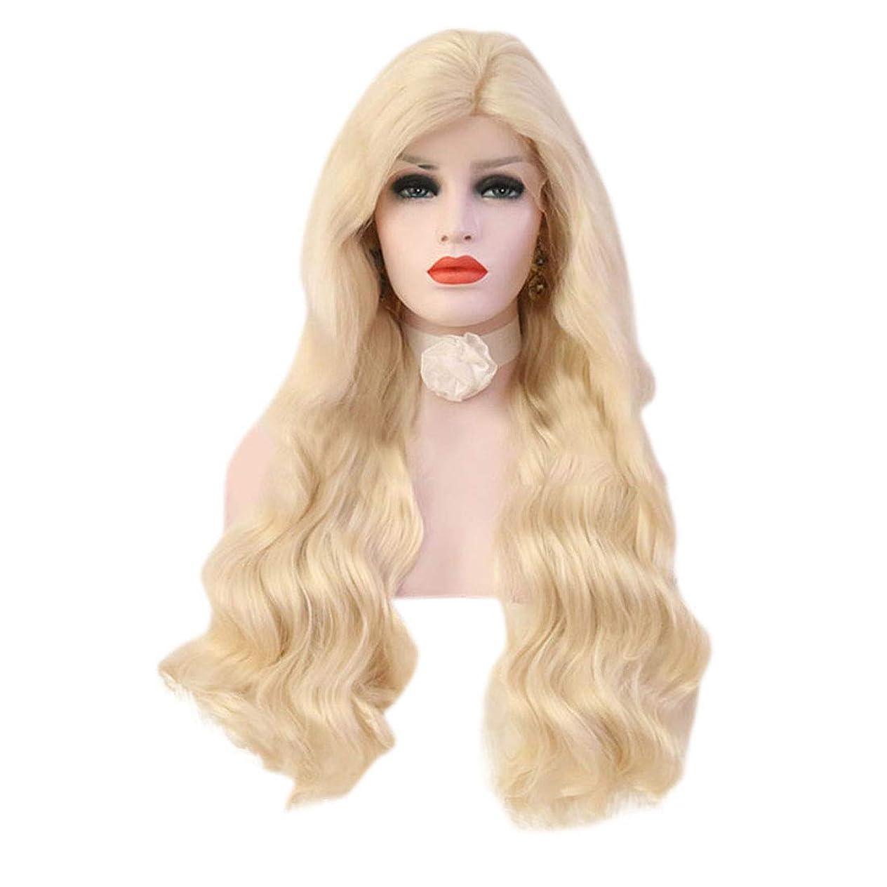 励起オンス羊のYrattary 女性の薄い金の長い巻き毛の大きな波状のトウモロコシの熱い長い髪のかつら合成髪のレースのかつらロールプレイングかつら (色 : Light gold, サイズ : 26 inches)