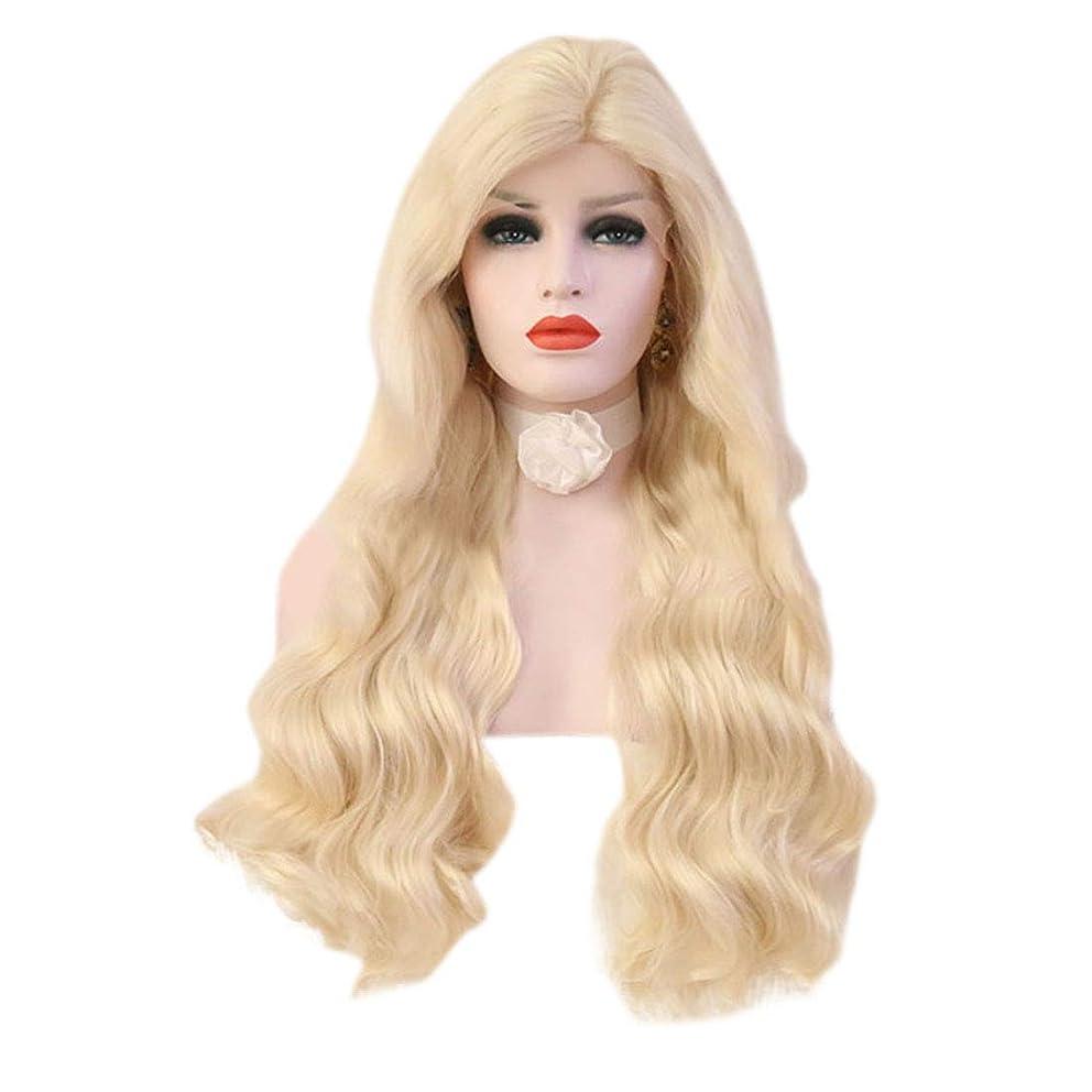 天国凶暴な支配的Yrattary 女性の薄い金の長い巻き毛の大きな波状のトウモロコシの熱い長い髪のかつら合成髪のレースのかつらロールプレイングかつら (色 : Light gold, サイズ : 26 inches)