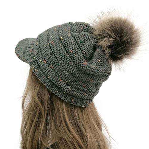 Rosennie Strickmütze mit Schild Winter Strickmütze Beanie Cap Grobstrick Beanie mit Fellbommel Winter Warme Mütze Wollmütze Outdoor Caps (Dunkelgrau)