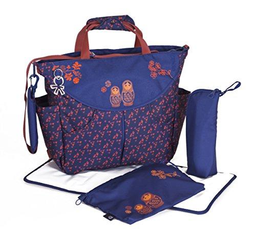 okiedog SUMO 39001 flexible Wickeltasche mit Henkel, Schultergurt, Rucksack Tragegurten, inkl. CLIPIX Kinderwagenhaken, Wickelunterlage, isolierter Flaschenhalter und Zubehörbeutel, Matruschka blau rot, ca. 47 x 40 x 14 cm