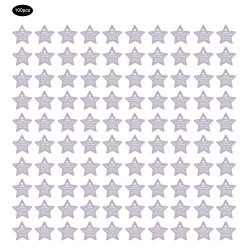 Okuyonic Etiqueta de Regalo de Boda Etiquetas de Regalo Fácil de Colgar Etiqueta Colgante Papel de Tarjeta Engrosado Fuerte Sentido Tridimensional(Purple, Five-Pointed Star)
