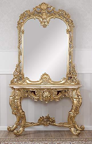 Simone Guarracino Console avec Miroir Noelia Style Baroque Français Feuille Or marbre crème Pierres Crystal SW