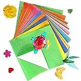 Papel de origami con purpurina, 50 hojas de colores brillantes, cuadrado de una sola cara