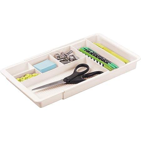 mDesign bac de Rangement pour Le Bureau – Range Couvert ou Papeterie Extensible avec 6 casiers pour Les Accessoires – bac Plastique sans BPA pour Le Bureau, la Cuisine ou la Salle de Bain – crème