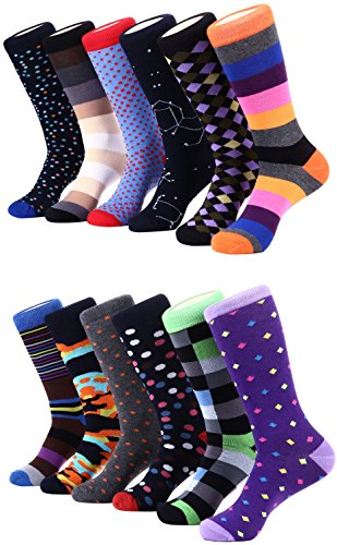 Marino Men's Dress Socks - Colorful Funky Socks for Men - Cotton Fashion Patterned Socks - 12 Pack (Fun Collection,13-15)