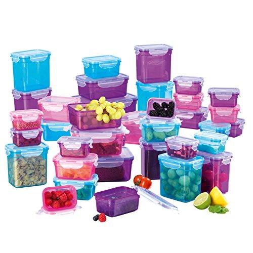 GOURMETmaxx Frischhaltedosen Klick-it 72 tlg. | Spülmaschinen- Mikrowellen- und Gefrierschrankgeeignet | Deckel BPA-frei mit 4-fach-Klick-Verschluss | Ineinander stapelbar [5 Größen blau, lila, pink]