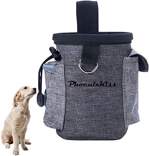 Elehui Borsa Addestramento Cane Snack Borsa Sacchetto di Allenamento per Cani Borsa per Il Cibo per Cani Animali Multifunzionale Snack per Addestramento del Cane Viaggio All'Aperto (Grigio)