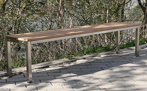 Szagato Sitzbank/Gartenbank mit Rückenlehne, BxTxH: 200x30x40cm, Edelstahl (Sitzbank für Wohnraum/Außen-Bereich, Bank mit Echt-Holz für Draußen, Design-Gartenmöbel, 4-Sitzer Marke Made in Germany