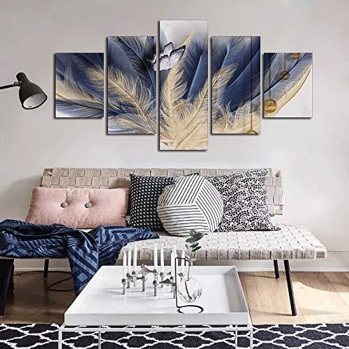REAHTCY Undefred 5 Pieces Abstract Feather Butterfly Lienzo Arte Pintura Impresiones Moderno Decorativo Pósters para Sala de Estar Decoración de la casa (Size (Inch) : 20x30 20x40 20x50 cm)