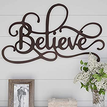 Lavish Home Metal Cutout-Believe Wall Sign-3D Word Art Home Accent Decor-Perfect for Modern Rustic or Vintage Farmhouse Style