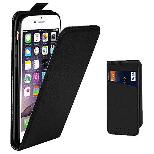 Supad Funda iPhone 6, Funda para Apple iPhone 6 4,7 Pulgada Flip Case para móvil en Cuero sintético (Negro)