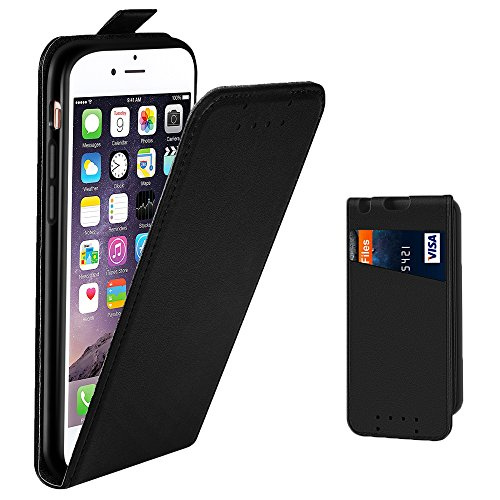Supad iPhone 6 Hülle, iPhone 6S Hülle, Leder Tasche für Apple iPhone 6 / 6S 4,7 Zoll Handyhülle Flip Hülle Schutzhülle (Schwarz)