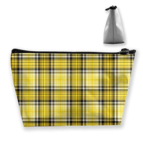 Yellow Plaid Portable Maquillage Sac Réception Rangement Poches Grande Capacité Main Travel Wash Bag