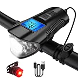 Zoross LED Bicycle Light Set,ZO-BLS01 USB Rechargeable Speedometer IP65 Waterproof Riding Bicycle Odometer with LCD Display Fits All Mountain & Road Bike