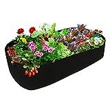 YHNJI Cama de jardín elevada, resistente bolsa de cultivo rectangular de tela elevada, tela de aireación, macetas para plantas al aire libre, verduras, flores, 7.5 x 15 x 3.3 pies