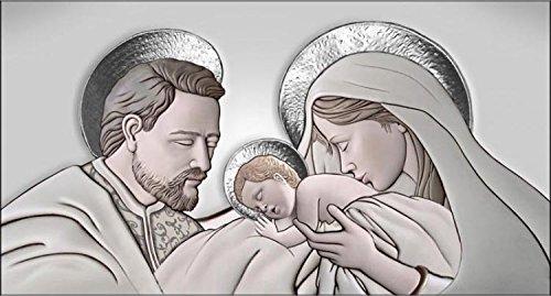 Deco Italia Quadro Sacro Religioso Capezzale Sacra Famiglia The Kiss Ceramic Argento | 143 x 50 cm