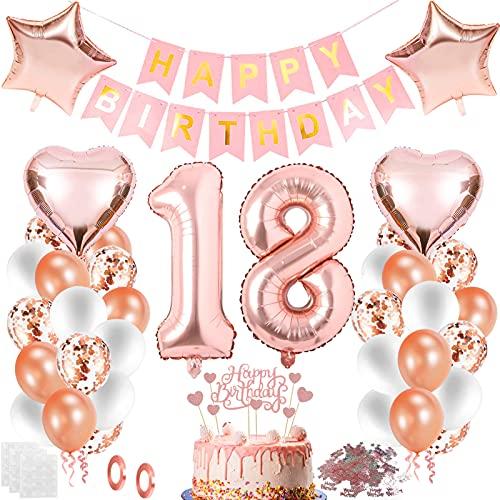 Decoración de cumpleaños para niña, globo de 18 cumpleaños, decoración de 18 años, globos de color oro rosa
