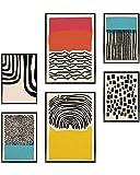 Heimlich Set di Stampe da Parete - Senza Cornici - Decorazioni da Muro per Soggiorno, Camera da Letto e Cucina - Poster Abbinati - 2 x A3 & 4 x A4-30x42 & 21x30 | » Abstract Blue Colorato «