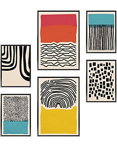 Heimlich Cuadros Decorativos - SIN Marcos -Decoración Colgante para Paredes de Sala, Dormitorios y Cocina - Arte Mural - 2 x A3 & 4 x A4-30x42 & 21x30 | » Abstracto Azul Geom «