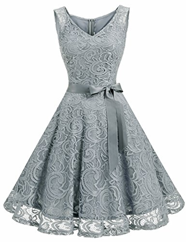 Dressystar Women Floral Lace Bridesmaid Party Dress Short Prom Dress V Neck XXXL Grey