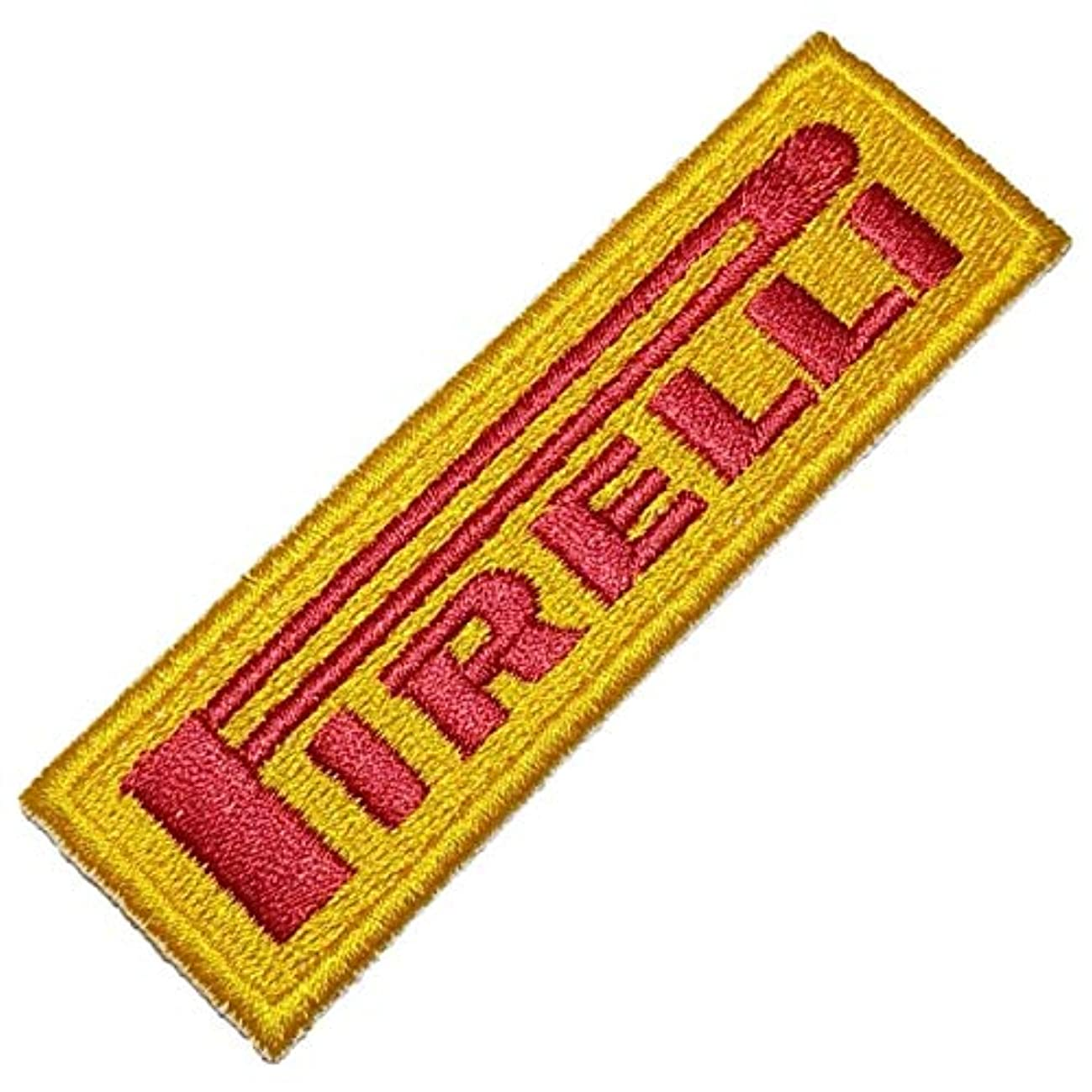 LOG272T Pirelli Motocross Biker Racing Patch to Old Suit Racing Kart - 100% Embroidered Iron on or Sew Size 3.74 x 1.18 in