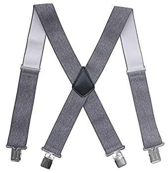 Fasker Mens Suspenders X-Back 2  Wide Adjustable Solid Straight Clip Suspenders