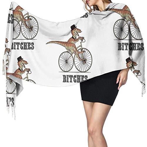 Bufanda de cachemir con estampado de bicicleta de dinosaurio