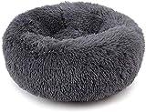 Haustierbett für Katzen und kleine mittelgroße Hunde Kuschler mit weichem Kissen Rundes oder ovales Donut-Nesting-Höhlenbett Haustierkatzenbett für Katzen und kleine Hunde