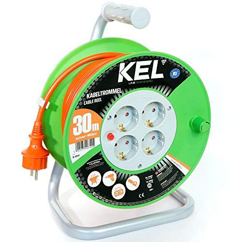 KEL -ELECTRIC - Tambor de cable para jardín con 30 m de PVC - Cable 3 x 1,5 mm², 230 V/16 A - Cable alargador de plástico con 4 enchufes de protección IP20