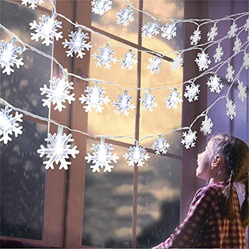 Wandskllss Luces Solares Para Jardín Al Aire Libre Luces De Hadas Con Energía Solar Cenador Patio Fiesta Árbol De Navidad Luces De Copo De Nieve Blanco Cálido Batería De 1.5 Metros