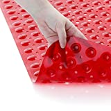 SlipX Solutions El tapete de baño extralargo agrega una tracción Antideslizante a Las tinas y duchas: ¡30% más Que Las esteras estándar! (200 Ventosas, 99 cm de Largo - Rojo)